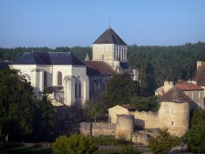 Nouaillé-Maupertuis abbey - Saint-Junien abbey (ancient Benedictine abbey): abbey church and its bell tower, convent buildings, surrounding wall, towers, moats (Miosson river) and trees