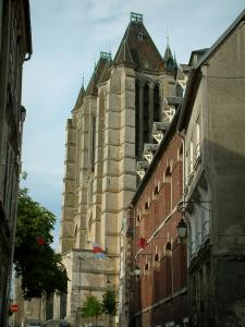 Noyon - Houses of the city and the towers of the Notre-Dame cathedral of Gothic style