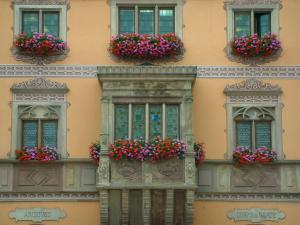 Obernai - Colourful facade of the town hall with an oriel window decorated with geranium flowers (geraniums)