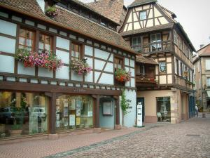 Obernai - Colourful half-timbered houses and geranium flowers (geraniums)