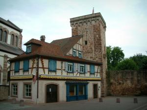 Obernai - Half-timbered house and ramparts tower