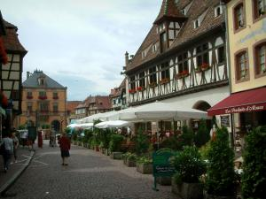 Obernai - Paved street, half-timbered houses with windows decorated with geranium flowers (geraniums), restaurant terrace and the town hall in background