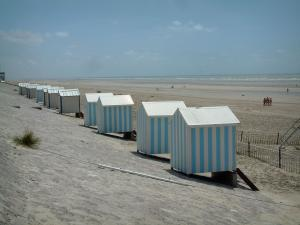 Opal Coast landscapes - Lined beach huts, sandy beach and the Channel (sea), at Hardelot-Plage (Regional Nature Park of Opal Capes and Marshes)
