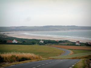 Opal Coast landscapes - Road, fields, houses, sandy beach, sea and coast (Regional Nature Park of Opal Capes and Marshes)