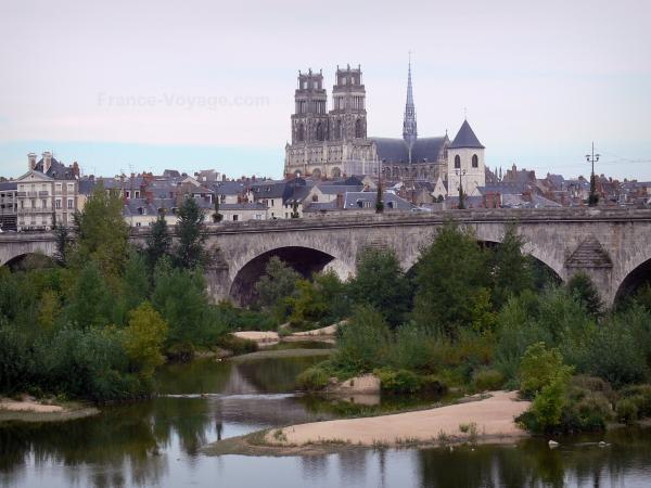 Orléans - Towers of the Sainte-Croix cathedral (Gothic building), bell tower of the Saint-Donatien church, roofs of houses and buildings of the city, George V bridge, Loire river and trees
