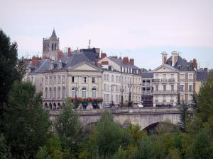 Orléans - Buildings of the city, bell tower, the George V bridge and trees