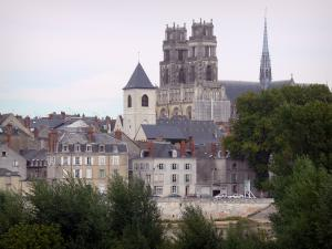 Orléans - Towers of the Sainte-Croix cathedral (Gothic building), bell tower of the Saint-Donatien church, houses and buildings of the city, Loire river and trees
