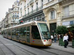 Orléans - République street: tramway, buildings and shops