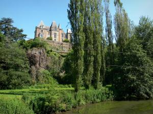 Orne valley - Chateau de Mesnil-Clay (in the common Batilly) overlooking River Orne, and trees along the water