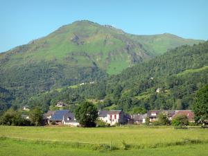 Ossau valley - Houses of the Béarn valley with views of the Pyrenees mountains