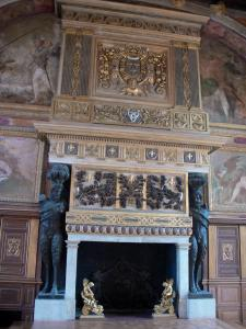 Palace of Fontainebleau - Interior of  the Palace of Fontainebleau: State Apartments: Ballroom and fireplace