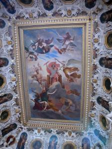 Palace of Fontainebleau - Interior of  the Palace of Fontainebleau: State Apartments: ceiling of the staircase of the King
