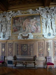 Palace of Fontainebleau - Interior of  the Palace of Fontainebleau: Flats: François I Gallery: fresco and carved details