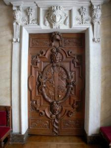 Palace of Fontainebleau - Interior of  the Palace of Fontainebleau: carved wooden door