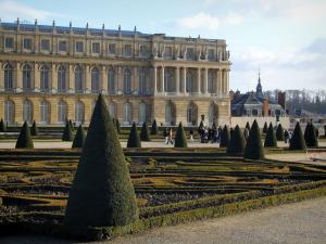 Palace of Versailles - Facade of the castle (Midi wing) and Midi flowerbed (park of the castle)
