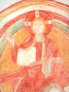 Palluau-sur-Indre - Former Saint-Laurent priory: Romanesque fresco (wall painting): Christ in Majesty
