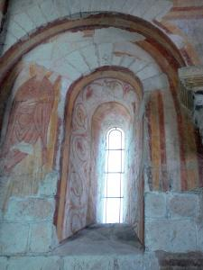 Palluau-sur-Indre - Former Saint-Laurent priory: window and Romanesque fresco (wall painting)