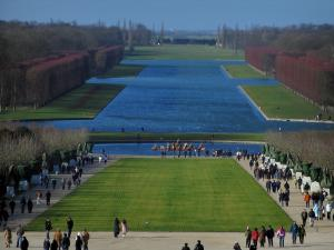 Park of the Palace of Versailles - Apollon pond, Grand Canal, lawns and cut trees