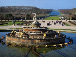 Park of the Palace of Versailles - Latone pond, gardens and Grand Canal in background