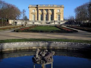 Park of the Palace of Versailles - Petit Trianon, flowerbeds and lake