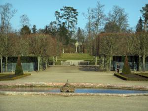 Park of the Palace of Versailles - Lake, shrubs and cut trees