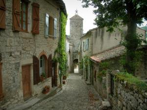 Penne - Narrow paved street lined with stone houses, tree, flowers, plants and the Pont gateway