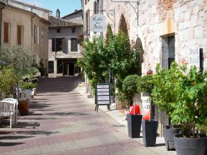 Penne-d'Agenais - Place Paul Froment square, café terrace, potted shrubs and facades of houses in the medieval town
