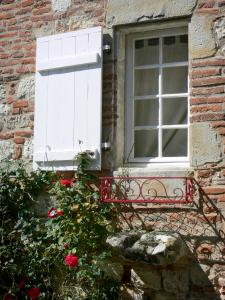 Penne-d'Agenais - Window of a house with a blooming rosebush (roses)