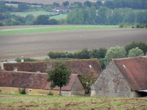 Perche Regional Nature Park - Buildings of a farm, trees and fields
