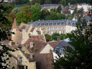 Perche Regional Nature Park - Trees, buildings and houses of the city of Nogent-le-Rotrou