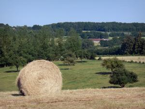 Perche Regional Nature Park - Haystack in a field, meadows, trees and farm
