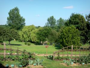 Perche Regional Nature Park - Courboyer domain (information center of the Perche Regional Nature Park): vegetable garden, meadows and lake surrounded by trees; in the town of Nocé