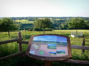 Perche Regional Nature Park - Informative panel in the Perche Regional Nature Park with a viez of the rolling landscapes