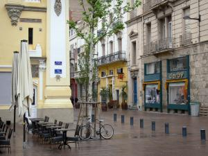 Perpignan - Sidewalk café, bicycle and facades of the old town