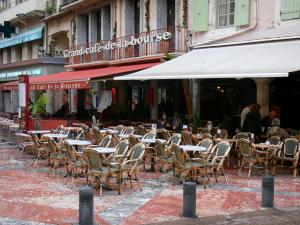 Perpignan - Café terrace and facades of the old town