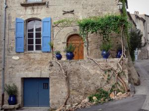 Pézenas - Old town: stone house with blue shutters and plants in jars