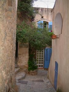 Pigna - Narrow paved street with houses (blue shutters) and creeper (in the Balagne region)