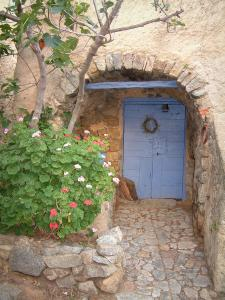 Pigna - Entrance to a house with its blue door, flowers and a fig tree (in the Balagne region)