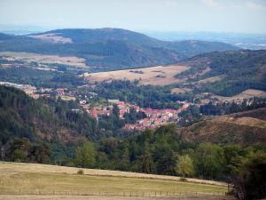 Pilat Regional Nature Park - Pilat mountain area: meadows, trees, village, forests, hills