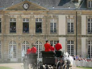 Le Pin national stud farm - Parade of carriages at Jeudis du Pin equestrian show and front of the château; in the town of Le Pin-au-Haras