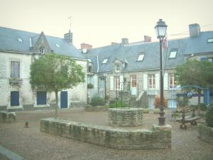 Piriac-sur-Mer - Square of the village (seaside resort) with well, lamppost, trees and houses