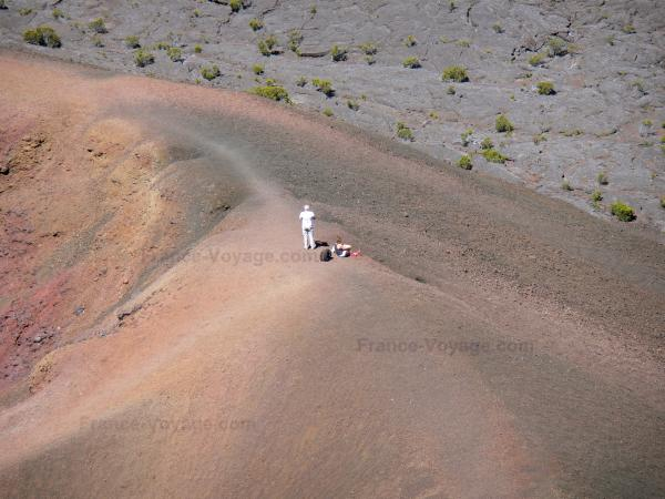 Piton de la Fournaise - Walkers on the Leo Formica crater; in the National Park of Reunion
