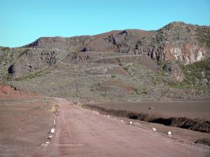 Piton de la Fournaise peak - Volcano forest road crossing the Sables plain