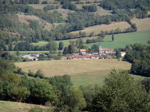 Plantaurel mountains - Village of Montels, meadows, fields and trees; in the Ariège Pyrenees Regional Nature Park