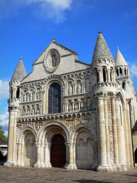 Poitiers - Notre-Dame-la-Grande church of Romanesque style and its carved facade