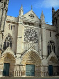 Poitiers - Saint-Pierre cathedral of Gothic style: facade, rose window, portals with the carved tympanums
