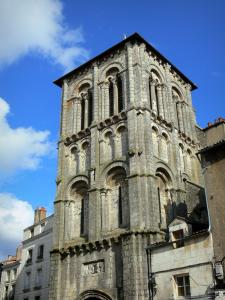 Poitiers - Romanesque bell tower of the Saint-Porchaire church and houses of the Gambetta street