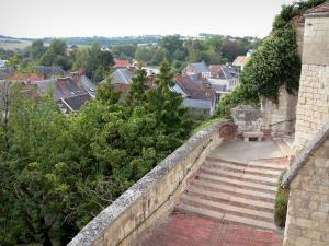 Poix-de-Picardie - Stair with view of the roofs of the houses in the city and trees