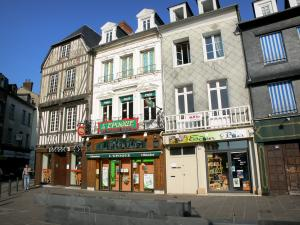 Pont-Audemer - Facades of houses on the Place Victor Hugo square