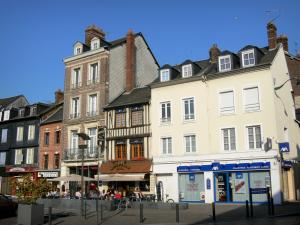 Pont-Audemer - Facades of houses and shops of the Place Victor Hugo